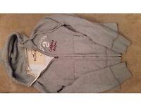Mens Designer Hollister Grey Hoodie Size S long sleeve