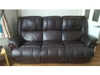 3 seat leather reclining sofa