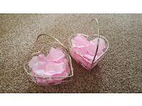 Wedding Flowergirl pretty heart baskets with pink petals
