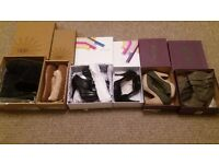 6 pairs of unworn excellent condition women's size 8 boots. slippers, heels and wedges.