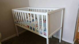 Wooden crib/cot with mattress