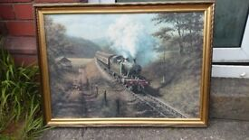 """Painting : """"Racing the Train"""" by Don Breckon"""