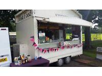 Mobile catering trailer, includes griddle, bain marie, urn, frier, fridges, freezer...