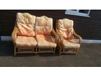 BEUTIFUL 2 SEATER AND 1 SEATER CANE FURNITURE FREE DELIVERY WAS £135