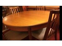 G Plan fresco extending table and 4 chairs