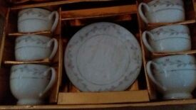 6 piece cup and saucer set - (still packaged)