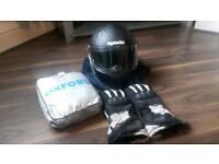 Motorcycle Helmet, Gloves, Jacket, Raincover + 1 Free helmet with the lot