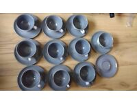 Denby Stoneware Albert Colledge Spring - 11 saucers, 10 cups