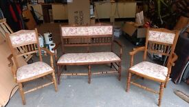 Antique suite of 3 chairs, one double window seat and two single chairs