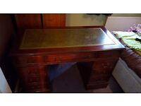 Vintage leather topped wooden desk