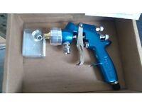 3 DeVilbiss pressure feed HVLP paint spray guns