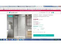 Designer Frameless Sliding Shower Door 1200Wx1950H, 8mm EasyClean Glass £110