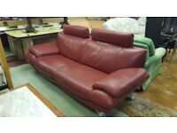 Modern Red Leather 3 Seat & 2 Seat Sofas