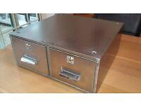 Locking filing cabinet index drawer safe locker float retro shabby industrial vintage