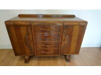 Antique Art Deco Sideboard English Buffet Cabinet Hand Carved