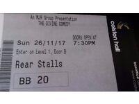 1 or 2 Divine Comedy Tickets: £25 each Colston Hall Bristol 26 November 2017