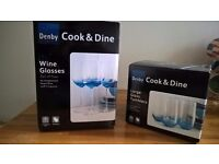 Denby Cook & Dine set of wine glasses and large tumblers