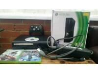 Xbox 360 console, with one controller, 3 cd games, all wires