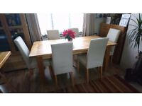 Solid oak table & 6/8 leather chairs