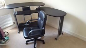 Desk and Faux leather Swivel Chair