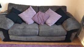 Grey DFS Fabric Sofa and Armchair