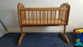 Mothercare swing crib used but in good condition and solid piece of furniture