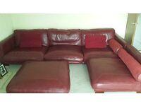 Leather corner sofa with stool