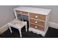 Solid wood dressing table and stool, white shabby chic laura ashley upholstery