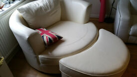 White Leather Swivel Armchair with Footstool