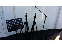 """Speaker Stands, """" Boom Mic Stands and Meatal Music Stand"""