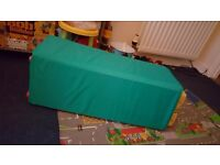 Multi coloured travel cot