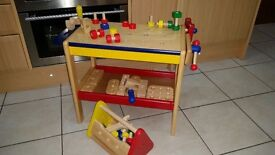 PINTOY Childrens wooden workbench. Used but good condition. £25.00