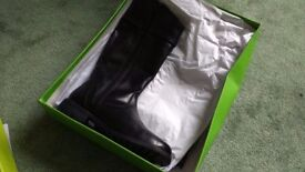 Hush Puppies black leather boots, new in box, size 3