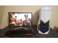 "Gaming PC, Intel i5 4690K, 16GB RAM, 256GB SSD, GTX660, Corsair H60, 600Watt 80+ Bronze, 22"" LCD"