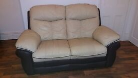 Two seater leather sofa brown and beige