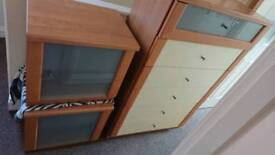 Chest of drawers with matching bedside cabinets
