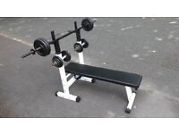 WEIGHTS BENCH WITH 40KG CAST IRON DUMBBELL SET & LONG BARBELL