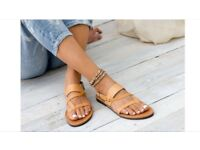 Women's leather sandals (4-4.5) handmade in Greece