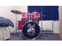 1978 Pearl W-5, Red 5 Piece Drum Kit with Hi-Hats and Ride. Sounds Gorgeous.