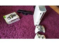 Xbox 360 plus kinect and games