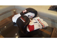 RDX Elite Boxing Gloves and Boxing Pads, Black/White/Red