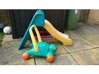 Outdoor slide and push turtle