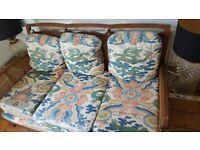 3 seater vintage rattan sofa