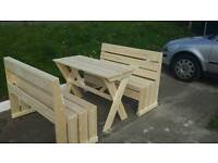Set of 2 benches and a clean tree table.