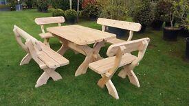 Ash hardwood patio set outdoor furniture benches