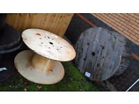 Wooden and Plastic Cable Drums Reels Upcycle Table Industrial Chic
