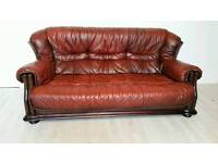 Wing Back Oxblood Leather 3 Seater Sofa