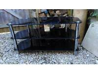 TV Stand in Black Glass and Chrome