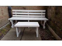 Hand made wood sturdy garden bench and table. Custom made. only one year old. In excellent condition