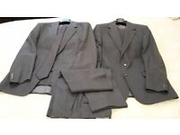 """Two Grey Suits - 40"""" Chest, 34"""" Waist -Tall fit with 2 grey ties and spare trousers"""